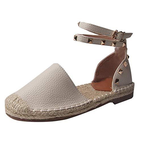 LILIHOT Frauen Round Toe Knöchelriemen Cover Heels Flache Leinen Niet Rom Sandalen Schuhe Frühlings Sommer Damen Sandalen Mode heraus Rom Schuhe aus -