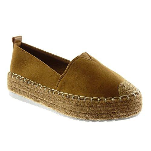 Angkorly Damen Schuhe Espadrilles - Plateauschuhe - Bi-Material - Seil - Elastisch - Fertig Steppnähte Flache Ferse 4.5 cm Camel
