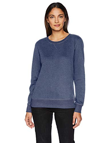 Amazon Essentials Damen-Sweatshirt mit Rundhalsausschnitt, französisches Frottee-Fleece, navy heather, US S (EU S - M) -