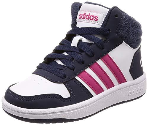 adidas Hoops Mid 2.0, Scarpe da Basket Unisex-Bambini, Bianco Ftwwht/Reamag/Trablu, 30 EU
