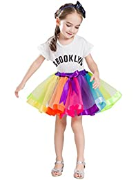 Buenos Ninos Girls Tutu Skirt for Layered Rainbow Party Ballet Dance Ruffle Tiered Tulle Skirts for Age 2-9