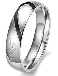 """Boolavard® TM Lover forme de cœur en Bague de Fiançailles en acier inoxydable Titane Couple bande de mariage avec coeur gravé et """"REAL LOVE COFFRET CADEAU inclus"""