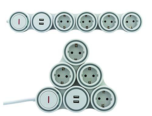 REV Ritter SupraFlex Steckdosenleiste 4-Fach mit beweglichen Steckdosen & USB   Überspannungsschutz   Stromverteiler   Mehrfachsteckdose   2pol. Schalter   Anschlussleitung 1,4m   weiß