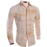 WULIFANG Moda Casual De Hombres Camiseta Manga Larga Camiseta Floral Slim 3D Impreso Camiseta Flor Brown M