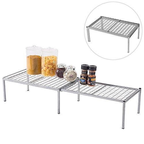 Erweiterbar Metall Draht Rahmen Küche Zähler Regal, Schrank Storage Rack Organizer, silber (Küche-schrank Metall-regal)