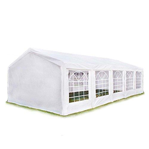 Hochwertiges Partyzelt 4x10 m Pavillon Zelt 240g/m² PE Plane Gartenzelt Festzelt Bierzelt Wasserdicht! weiß