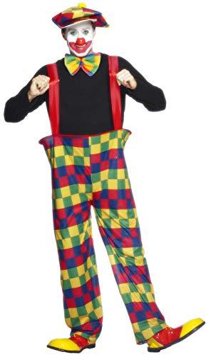 Smiffys Herren Clown Kostüm, Reifhose, Hut und Fliege, Größe: L, 96312