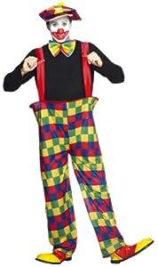 """Smiffys-96312M Disfraz de Payaso en Forma de aro, con Pantalones, Sombrero y corbatín, Multicolor, M-Tamaño 38""""-40"""" (Smiffy"""