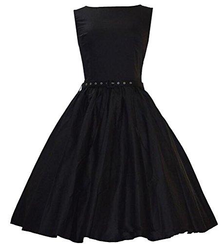 MILEEO 2016 Version2.0 Vintage 1950's Audrey Hepburn robe de soirée cocktail, bal style années 50 Rockabilly Swing Noir