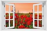 Wallario Poster - Mohnblumen auf dem Feld in Premiumqualität, Größe: 61 x 91,5 cm (Maxiposter)