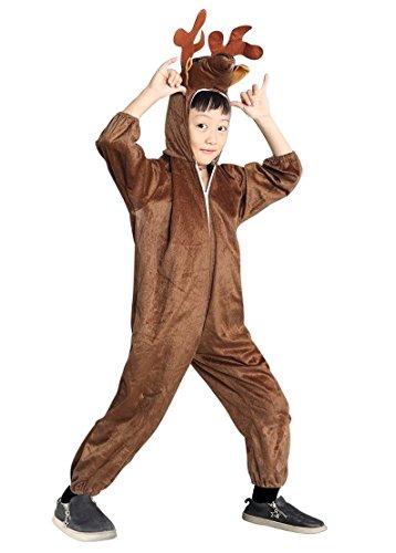 0 Gr. 98-104, für Kinder Hirsch Rentier Hirsch-Kostüme Elch-Kostüme Rentier-Kostüme für Fasching Karneval, Klein-Kinder Karnevalskostüme, Kinder-Faschingskostüme, Geburtstags-Geschenk (Hirsch Kostüm Kleinkind)