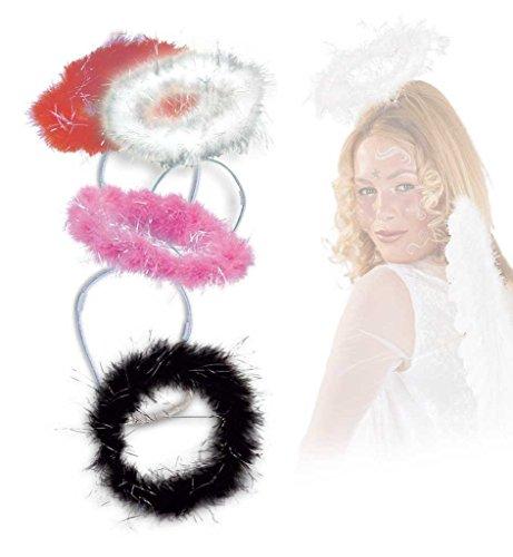 KarnevalsTeufel Haarreif Heiligenschein mit Marabufedern in 4 Farben (weiß rot pink schwarz) als Ergänzung zu Ihrem Kostüm