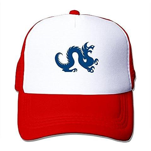 Sophie Warner réglable unisexe moitié en maille filet Logo Dragon chinois Seau Chapeau Noir Taille unique - rouge - Taille unique