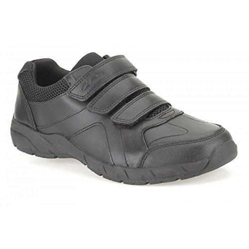Clarks Air apprendre Inf - école chaussure garçon en cuir noir