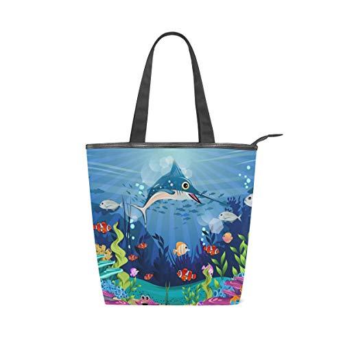 Jeansame Canvas-Handtasche für Damen, Shopper mit Tragegriff, Schultertasche mit Reißverschluss, süßer mediterraner Meer, Ozean, Welt Fischhai
