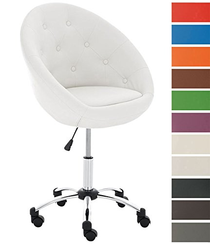 Clp sedia da ufficio di design london, sedia scrivania imbottita e girevole, sedia studio in similpelle, regolabile in altezza 51 – 63, telaio in metallo, sedia sgabello, base a croce bianco