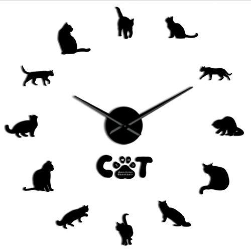 MDKAZ DIY Acryl Wanduhr Kurzhaarkatze DIY Wanduhr Spiegeleffekt Katzenuhr Kits Zahlen Mit Großer Nadel Katze Haustier Rasse Wanddekor Uhr Schwarz 37inch - Mit Zahlen Uhr-kits