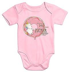 MoonWorks Baby-Body Einhorn auf Donut Ich Bin so süß ich könnte Zucker pupsen Kurzarm Bio-Baumwolle rosa 6-12 Monate