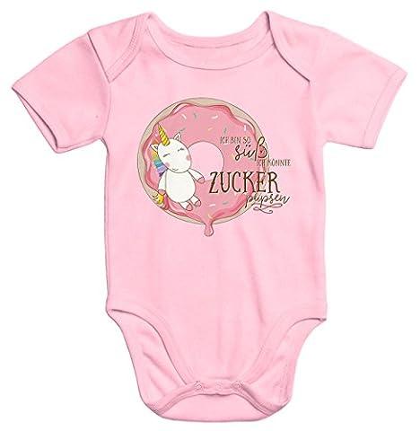 Baby-Body Einhorn auf Donut Ich bin so süß ich könnte Zucker pupsen kurzarm Bio-Baumwolle Moonworks® rosa 3-6 Monate