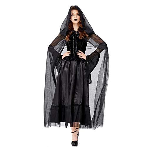 Schwarzes Kostüm Halloween Kleid - Lomelomme Halloween Damen Halloween Cosplay Hexe Kostüm Vintage Langarm Kleid Hexe Teufel Kleid Lang Schwarz Halloween Party
