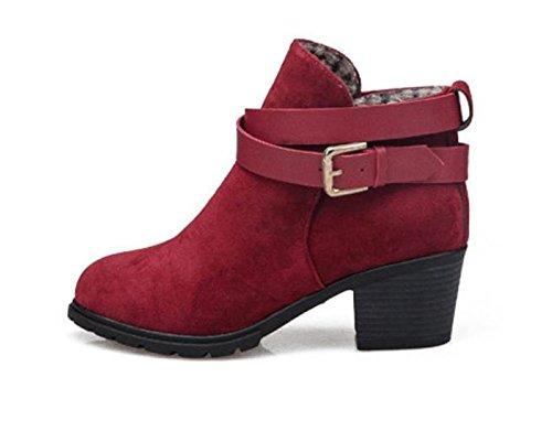 Chaussures femme Kolylong 2016 Hiver Bottes De Neige Mary Janes Low Heel Cheville Boucle de ceinture De plus en velours Martin Bottes Chaussures