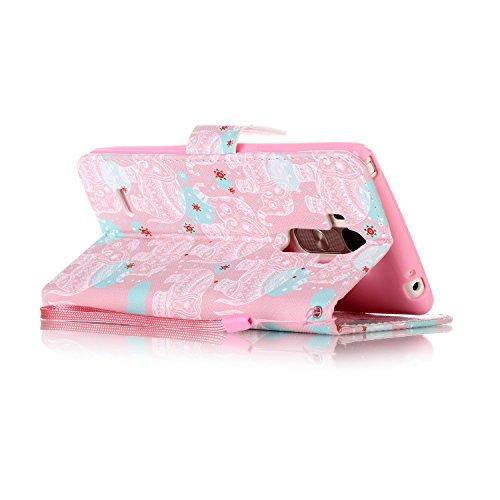 Feeltech LG LS770/LG G4 Stylus Hülle,LG LS770/LG G4 Stylus Magnet Leder Wallet Cover,Elegant Soft PU Kartenfach Extra Dünn Tasche Bunte Relife-Muster [Stand Funktion] Karte Halterung Klapp hülle Flip  Weißer Totem Elefant