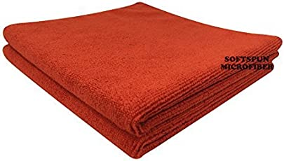 SOFTSPUN Microfiber Ultra Fast Drying, Hand & Face Towel Cloth - 40X40 Cms - 2 Pcs (RED)