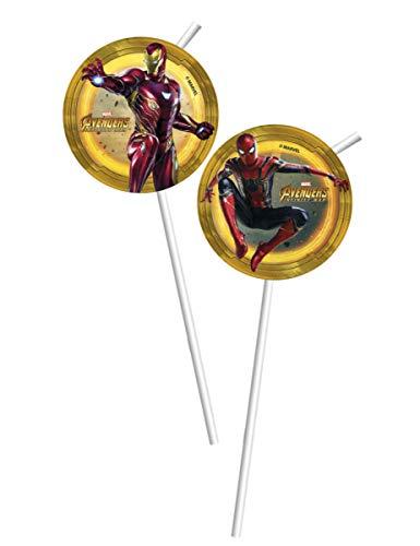 Generique - 6 Pailles médaillons Avengers Infinity War