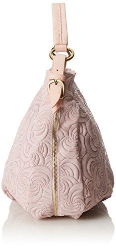 CTM Borsa elegante a mano da donna, vera pelle scamosciata made in Italy con fantasia geometrica 33x33x13 Cm Rosa
