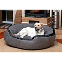 PETITUDE Luxurious and Durable Polyester Filled Soft Dual Colour Dog/Cat Bed (Small, Grey) 65x65x20 cms