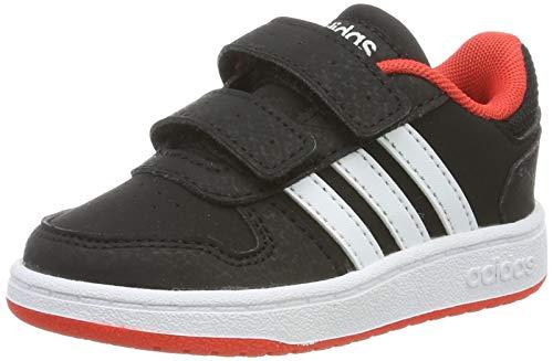 adidas Unisex Baby Hoops 2.0 Sneaker, Schwarz (Core Black/Footwear White/Hi-Res Red 0), 21 EU