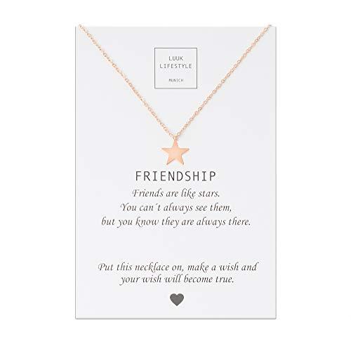 LUUK LIFESTYLE Edelstahl Halskette mit Anhänger und Friendship Spruchkarte, Glücksbringer, Freundschaftskette, Damen Schmuck - Stern Halskette - Rosè