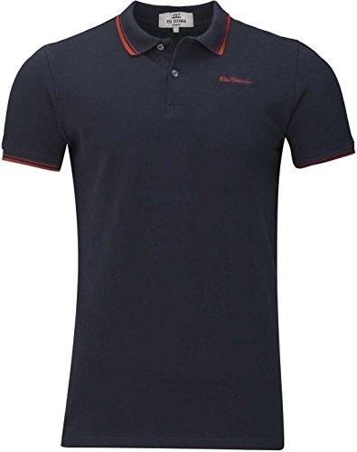 Ben Sherman Herren Shirt T-Shirt Polohemd Poloshirt Logo Shirt, Farbe: Dunkelblau, Größe: M -