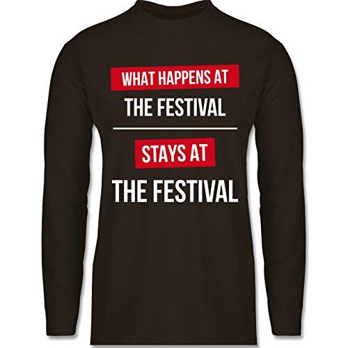 Shirtracer Festival - What Happens On The Festival Stays At The Festival - Herren Langarmshirt Braun