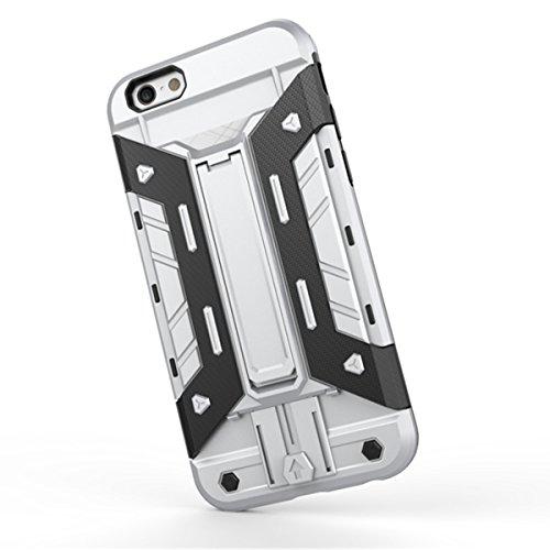 iPhone 6 Hülle, iPhone 6S Hülle, Lifeturt [ Gelb ] 2 Layer Hybrid Combo Innere Weiche Silikon Hart Plastik Anti-stoß Schutzhülle Tasche Case Cover für Apple iPhone 6s / 6 E02-Silber