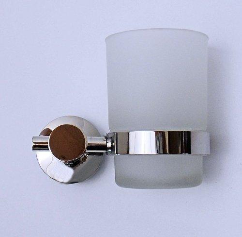 DESIGN ZAHNPUTZBECHER BECHER GLAS + HALTER EDELSTAHL glänzend NEU