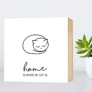 Home is where my Cat is - einzigartiges Holzbild 15x15x2cm zum Hinstellen/Aufhängen, echter Fotodruck mit Spruch auf Holz - schwarz-weißes Wand-Bild Aufsteller zur Dekoration/als Geschenk - Katze
