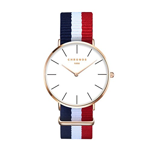 Moda Simple Relojes para Hombre Mujer - Correa de Textil de Nylon Multicolor Ultra-Delgado Échelle Linéaire Relojes de Pulsera para Señores Señoras, Azul Blanco Rojo
