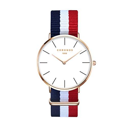 Mode Einfach Herrenuhren Damenuhren - Farbig Nylon Textil Armband Ultra-Dünn Lineare Skala Armbanduhren für Herren Damen, Blau Weiß Rot (Blau, Weiß, Rot, Armband)