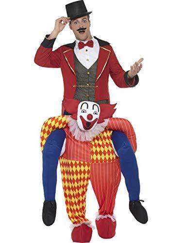 Halloweenia - Herren Männer Huckepack Piggyback Kostüm, Zirkus Clown trögt Dich Direktor, Einteiler Overall Jumpsuit, perfekt für Karneval, Fasching und Fastnacht, One Size, Rot