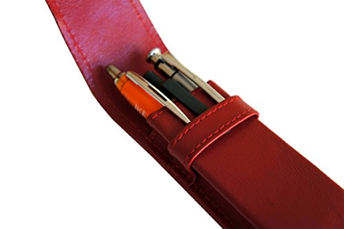 Preisvergleich Produktbild Leder Etui für 3 Füller Kugelschreiber Bleistift, Schreibgeräte ROT Echt Leder !