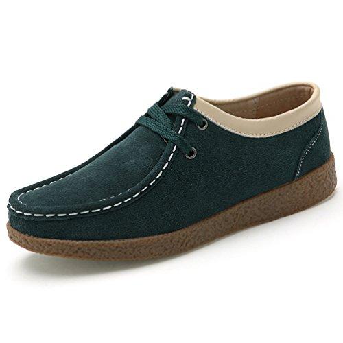 JRenok Chaussure en Automne Suède à Enfiler Epissage Mode Chaussure Casual à Talon Plat Chaussure Plateforme Confortable Vert