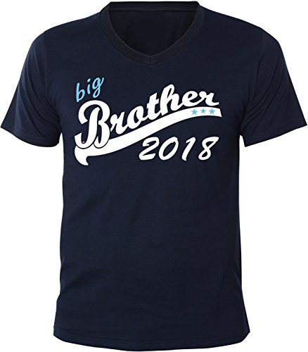 Mister Merchandise Herren Men V-Ausschnitt T-Shirt Big Brother 2018 Tee Shirt Neck bedruckt Navy