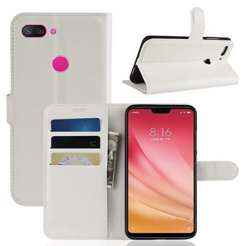 Qiaogle Xiaomi Mi8 Youth / Mi8 Lite Hülle - Klassische Solid Color Geschäfts Art PU Leder Case Wallet Schutzhülle für Xiaomi Mi8 Youth / Mi8 Lite - FC03 / Weiß