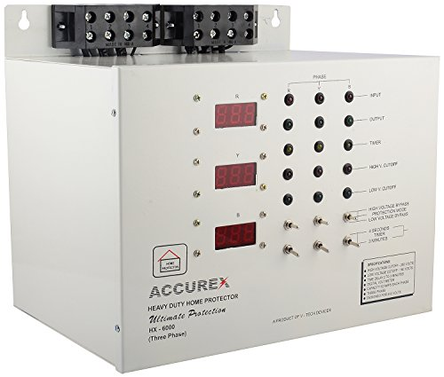 Accurex HX-6000 Three Phase Home Voltage Protector (Grey) For Entire Home/Office 62 Amps