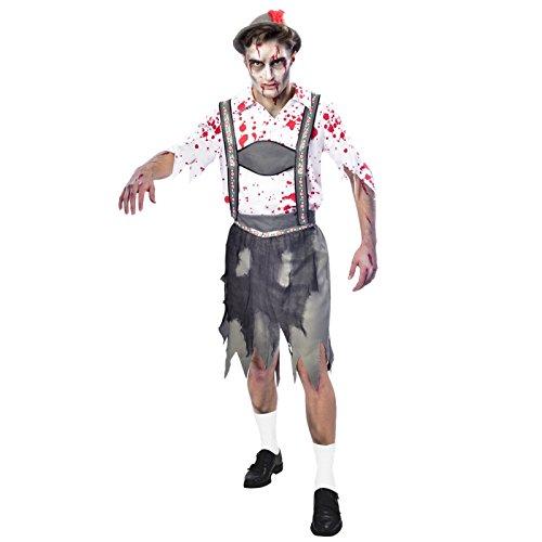 Generique - Zombiehaftes Oktoberfest-Besucherkostüm für Herren Halloween bunt L
