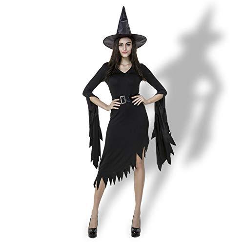 MYLEDI Halloween Hexe Schwarzes Kleid Slim Fit Party Make-Up,Black,XL