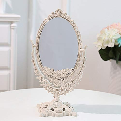 JXQ Simple European Beauty Miroir De Bureau De Maquillage Miroir Double Face Miroir Dressing Portable Princesse Miroir Maquillage Miroir Pliant, 3 Couleurs (Color : White, Style : Round)
