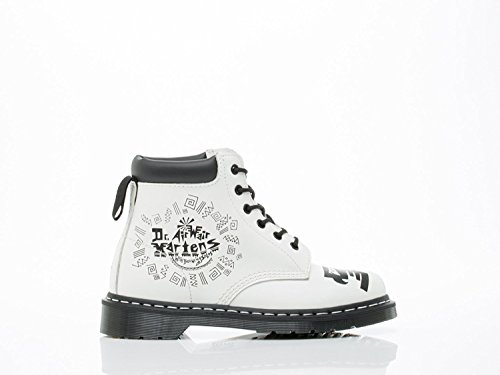Dr. Martens 939 6 Eye Padded Collar Boot,White/Black Aztec Smooth,UK 13 M (Padded Collar Eye)