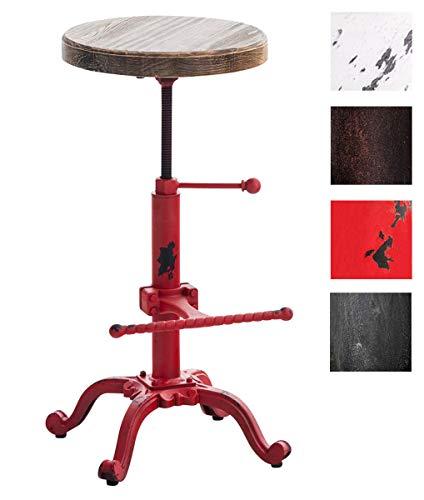 CLP Taburete Industrial Carson con Asiento de Madera I Taburete Vintage Regulable en Altura I Color: Rojo